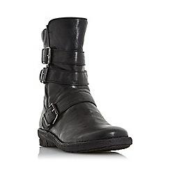 Dune - Black 'Rania' buckle detail biker boots