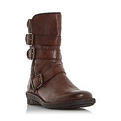 Dune - Dark tan 'Rania' buckle detail biker boots