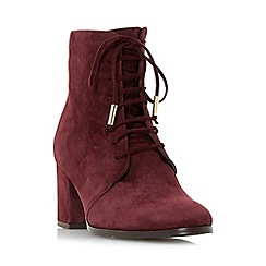 Dune - Maroon 'Olita' lace up block heel ankle boots