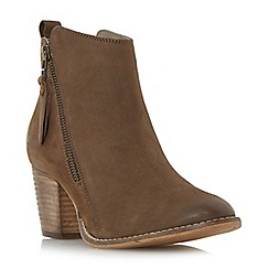 Dune - Taupe 'W pontoon' wide fit side zip ankle boots