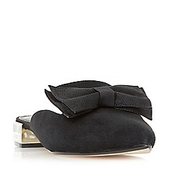 Dune - Black 'Doe' pointed toe bow trim backless loafer shoes