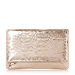Dune - Light pink 'Buz' metallic bar fold over clutch bag