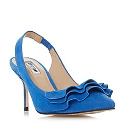 Dune - Blue 'Cotton' ruffle detail slingback court shoes