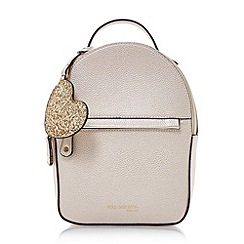 Head Over Heels by Dune - Gold 'Hailie' mini backpack with glitter heart bag charm