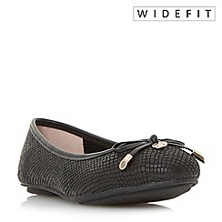 Dune - Black 'W hype' wide fit bow and coin trim ballerina shoes