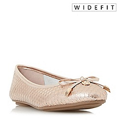 Dune - Metallic 'W hype' wide fit bow and coin trim ballerina shoes