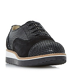 Dune - Black 'W furley' wide fit lace up flatform shoes