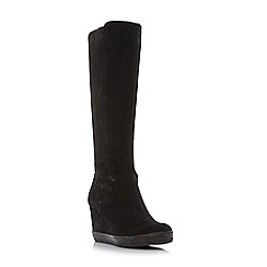 Dune - Black 'Vera' stretch detail knee high wedge boots