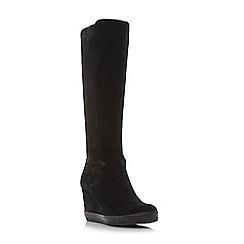 Dune - Black 'Vera' stretch detail knee high wedge boots