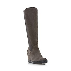 Dune - Grey 'Vera' stretch detail knee high wedge boots