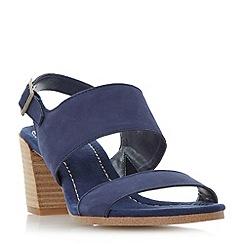 Dune - Navy 'Jesica' slingback stacked heel sandals