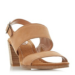 Dune - Tan 'Jesica' slingback stacked heel sandals