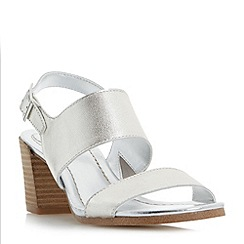 Dune - Silver 'Jesica' slingback stacked heel sandals