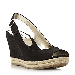 Dune - Black 'Klick' espadrille trim wedge sandals