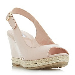 Dune - Natural 'Klick' espadrille trim wedge sandals