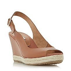 Dune - Tan 'Klick' espadrille trim wedge sandals