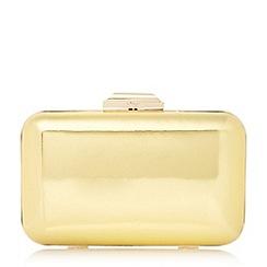 Dune - Gold 'Broncho' mirror metallic box clutch bag