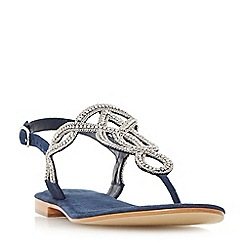 Dune - Navy 'Nea' embellished toe post sandals