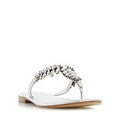 Dune - Silver 'Nara' jewelled toe post flat sandals