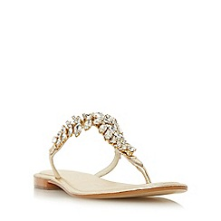 Dune - Gold 'Nara' jewelled toe post flat sandals