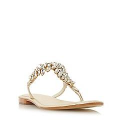 Dune - Gold 'Nara' jewelled toe post flat sandals