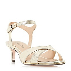 Roland Cartier - Gold 'Morticia' kitten heel cross strap sandals