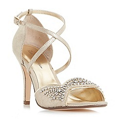 Roland Cartier - Gold 'Mavys' cross strap embellished high heel sandals