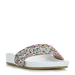 Dune - White 'Loveheart' beaded slider sandals