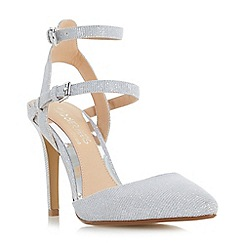 Head Over Heels by Dune - Silver 'Cadi' pointed toe double buckle court shoes