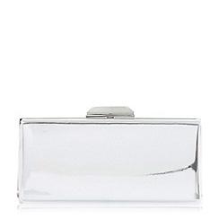 Dune - Silver 'Barrbie' rectangular hard case clutch bag