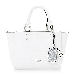 Dune - White 'Dizzie' winged top handle bag with glitter purse