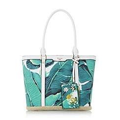 Dune - Green 'Dalmie' oversized palm print shopper bag