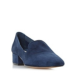 Dune - Navy 'Glover' slipper cut block heel court shoes