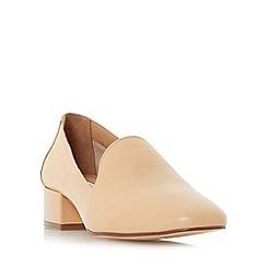 Dune - Natural 'Glover' slipper cut block heel court shoes