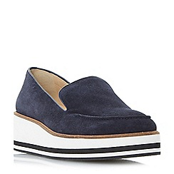 Dune - Navy 'Genesis' slipper cut flatform shoes