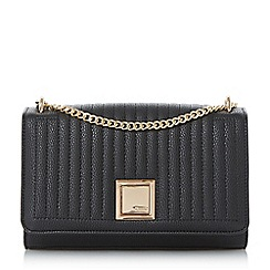 Dune - Black 'Edwyn' quilted square lock shoulder bag