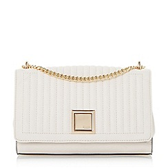 Dune - Cream 'Edwyn' quilted square lock shoulder bag
