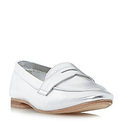 Dune - Silver 'Galer' unlined penny loafer shoes