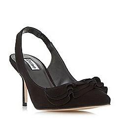 Dune - Black 'Cotton' ruffle detail slingback court shoes