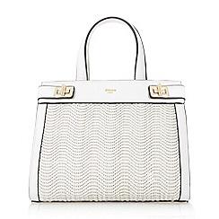 Dune - White 'Damita' medium structured raffia bag