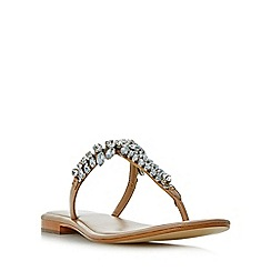 Dune - Tan 'Nara' jewelled toe post flat sandals