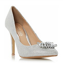 Head Over Heels by Dune - Silver 'Annette' pointed toe brooch trim court shoes