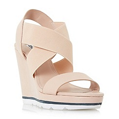 Dune - Natural 'Kalifornia' white outsole cross strap wedge sandals