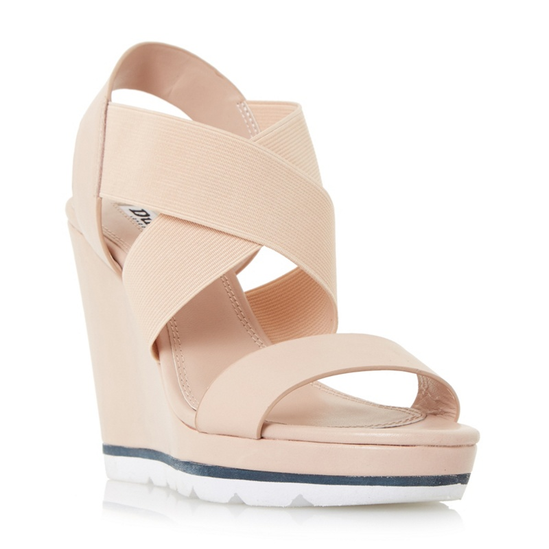 Dune - Natural Kalifornia White Outsole Cross Strap Wedge Sandals