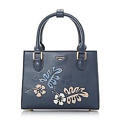 Dune - Navy 'Dany' floral appliqué top handle handbag
