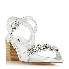 Dune - Silver 'Joone' block heel jewelled sandals
