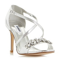 Dune - Silver 'Marciela' jewelled cross strap high heel sandals