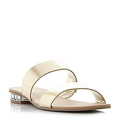 Dune - Gold 'Nesha' jewel heel double strap flat sandals