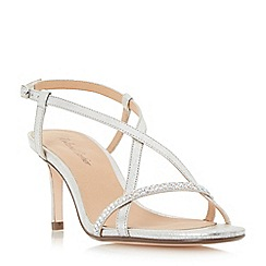 Roland Cartier - Silver 'Merryn' diamante strappy mid heel sandals