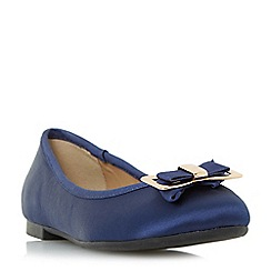Head Over Heels by Dune - Navy 'Honor' bow detail ballerina shoes